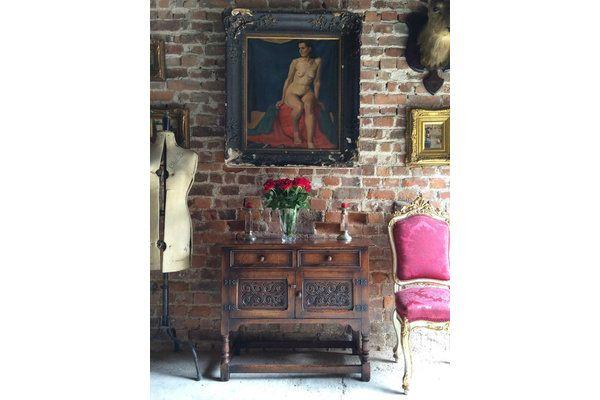 Petit Antique Sideboard Dresser Rustic Solid Oak Carved 19th Century Farmhouse | Vinterior London  #antique