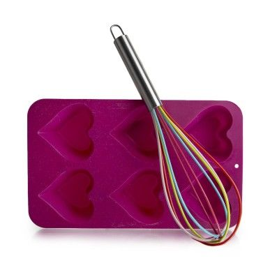 Silicone Heart Pan & Whisk | Woolworths.co.za