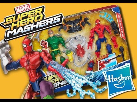 ▶ MARVEL SUPERHERO MASHERS Toy Unboxing Spiderman vs Doc Ock How-to video DTSE - YouTube