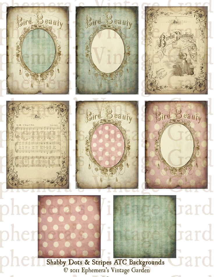 Shabby Dots and Stripes ATC Backgrounds