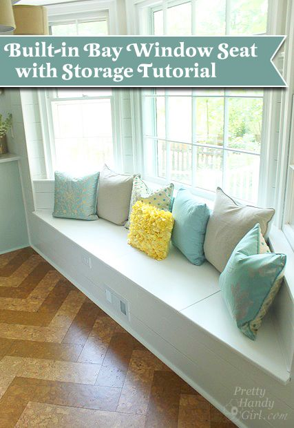 Building a Window Seat with Storage in a Bay Window - Pretty Handy Girl