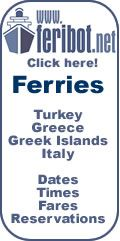 Feribot.net ~ The easiest way to travel between Greece and Turkey is on a ferry from a Greek island to the Turkish mainland (or vice-versa). Here are dates and fares.  Ferries (motorboats and hydrofoils) depart from at least six Greek islands to ten ports in Turkey. The busiest, most convenient Turkish ports are Bodrum, Marmaris, Kuşadası and Çeşme; those in Greece are Rhodes, Kos, Samos and Chios.