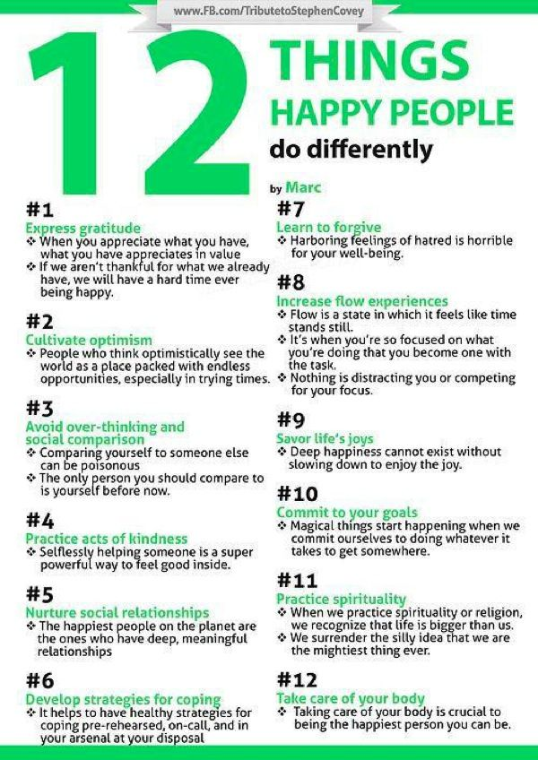 12 THINGS HAPPY PEOPLE DO DIFFERENTLY 1-Express Gratitude 2-Cultivate Optimism 3-Avoid Over-Thinking & Social Comparison 4-Practice Acts of Kindness 5-Nurture Social Relationships 6-Develop Strategies for Coping 7-Learn to Forgive 8-Increase Flow Experiences 9-Savor Life's Joys 10-Commit to Your Goals 11-Practice Spirituality 12-Take Care of Your Body -Stephen Covey