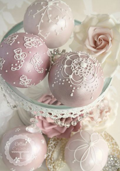 the most elegant cake pops: Cakes Cookies, Minis Cakes, Cakes Pop, Petite Four, Cotton And Crumb, Sphere Cakes, Victorian Christmas, Christmas Ornaments, Cakes Ball
