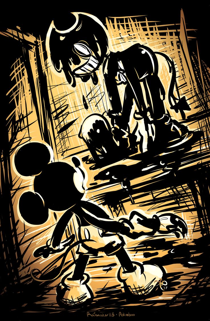Mickey: *shutters* B-Bendy! W-wh-AT ARE YOU D-dOOooOing? *wipes tears*  Bendy: S A C R I F I C E