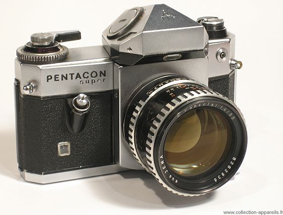 Pentacon Pentacon Super.  In 1968, this camera had through-the-lens metering; a chromed steel body and a metal shutter.  Only 5000 of these tanks made.  I must have one!