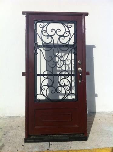 Puerta principal de forja acabado madera cosas para comprar pinterest window principal - Puertas forja exterior ...