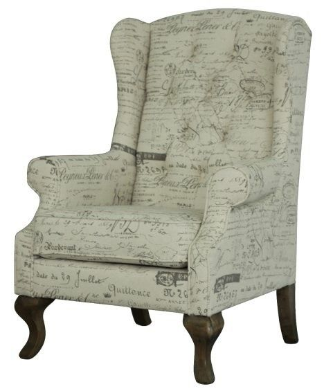 Beautiful French Written Natural Linen Upholstered Wing Arm Chair.