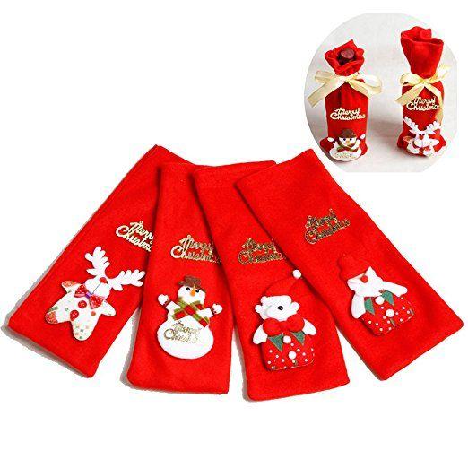 gossipboy 4pcs/1set Cute divertente Natale Bottiglia Di Vino Borsa farbic Uva birra vestiti da champagne, Candy regalo borsa a decorazione pupazzo di neve Babbo Natale cervo orso