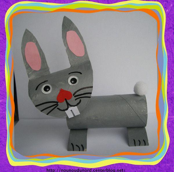lapin de Pâques réalisé avec Gaspard 32 mois et 2 rouleaux de papier WC, explications sur mon blog