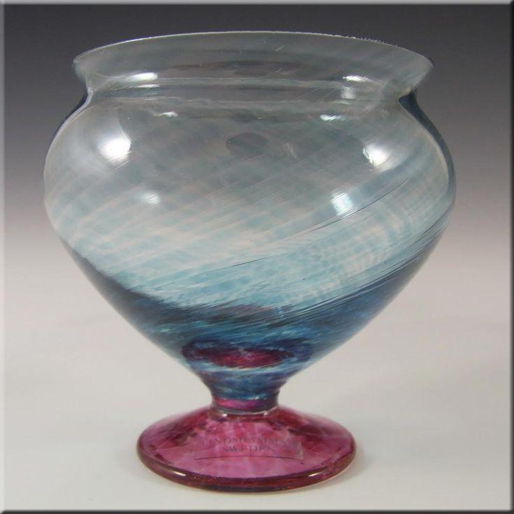 Lindshammar Swedish Blue + Pink Glass Vase - Labelled - £29.99