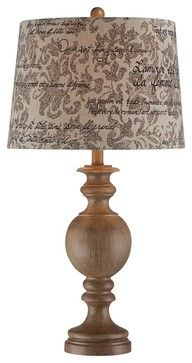 Weathered Wood Finish French Script Shade Table Lamp traditional table lamps