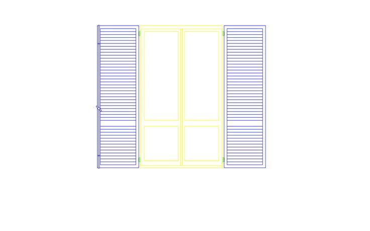 Blocco cad raffigurante finestra con scuri vista in prospetto - Formato dwg