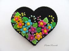 black heart with multi flowers pin