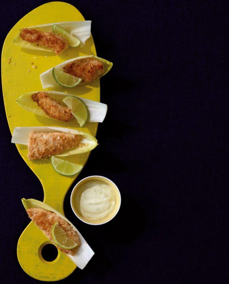Hähnchen mit Kokoskruste und Limetten-Mayo. Auch kalt ein absoluter Partyrenner!
