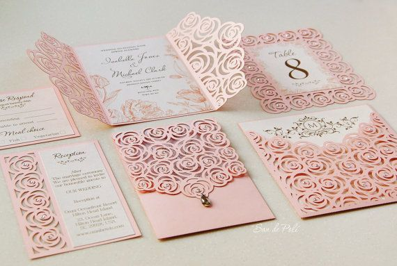 Roses Wedding Luxery Card Template cutting file от EasyCutPrintPD