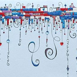 This is a close up shot of the Zenspirations Dangles I did for Valentine's Day greeting card published by Design Design, Inc.