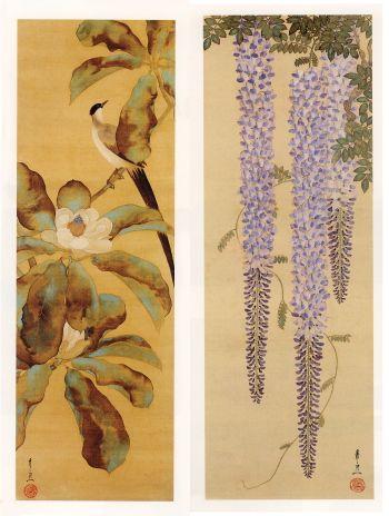 Kiitsu SUZUKI (1796~1858), Japan. Long tailed Bird and Wisteria scrolls. Honolulu Museum of Art.