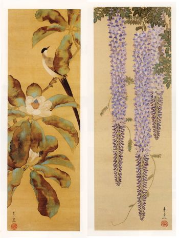 Kiitsu SUZUKI (1796~1858), Japan. Long tailed Bird and Wisteria scrolls. Honolulu Museum of Art.