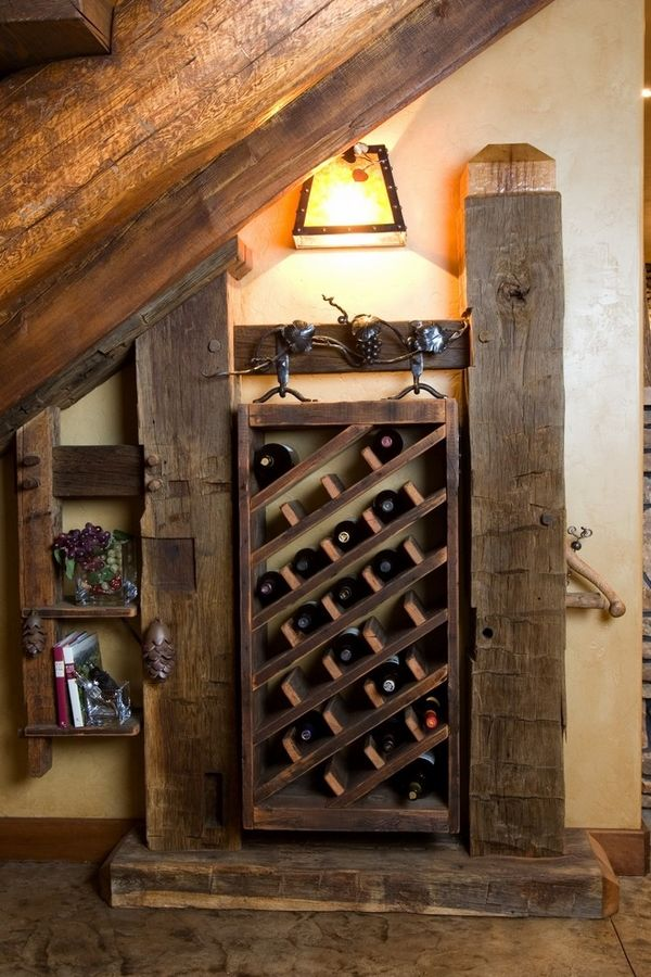 DIY wooden wine racks rustic wine cellar ideas old beams