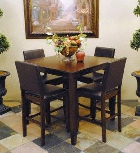 Espresso Pub Table 4 Chair Set