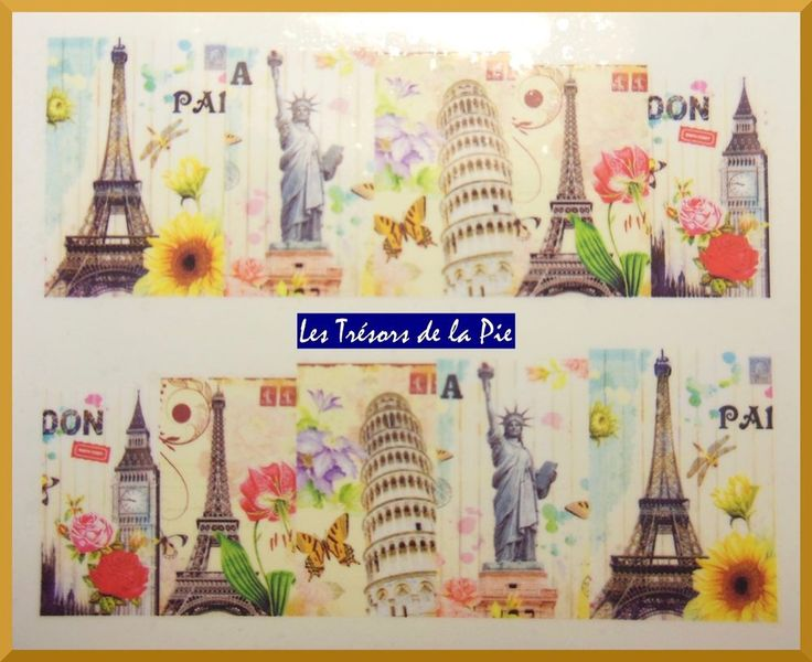 STICKERS ONGLES WATER DECAL (x10) - Nail art - Capitales Paris & tour Eiffel