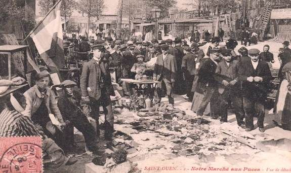 Early days at Marché aux Puces St-Ouen de Clignancourt. Public domain image.