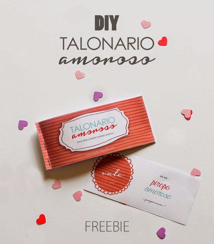 ¡Talonario amoroso! Descargable gratuito para hacer un talonario de 7 vales para San Valentín.  #regalitosespeciales #regalitosfigurate #freebie