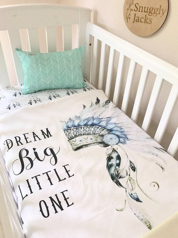 Boy Blanket Tribal Headdress Cot Quilt Dream Big Crib Set Sheet