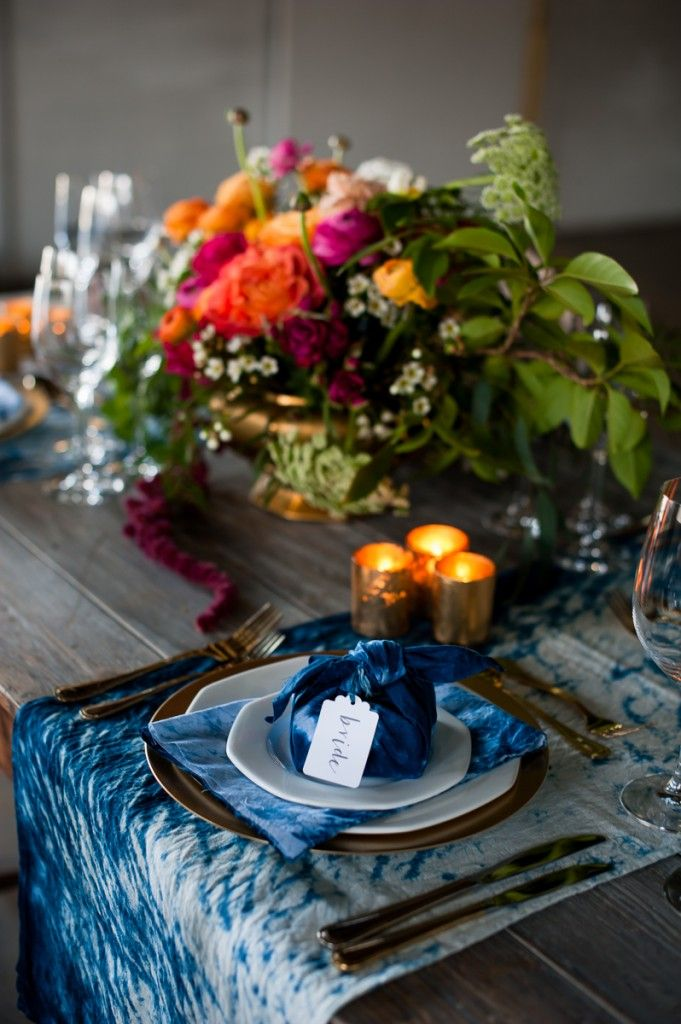 Stylish and unique indigo wedding inspiration, with lots of DIY features and two different styling options.