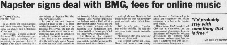 "Post (Athens, Ohio) November 9, 2000. Recording Industry. ""Napster signs deal with BMG, fees for online music."" :: Ohio University Archives"