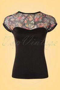 50s Miss Fancy Roses Top in Black