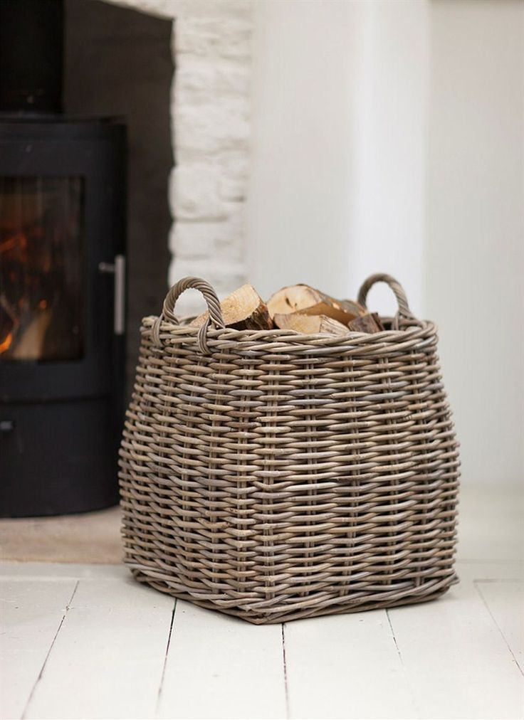 Large Square Rattan Log Basket by Garden Trading