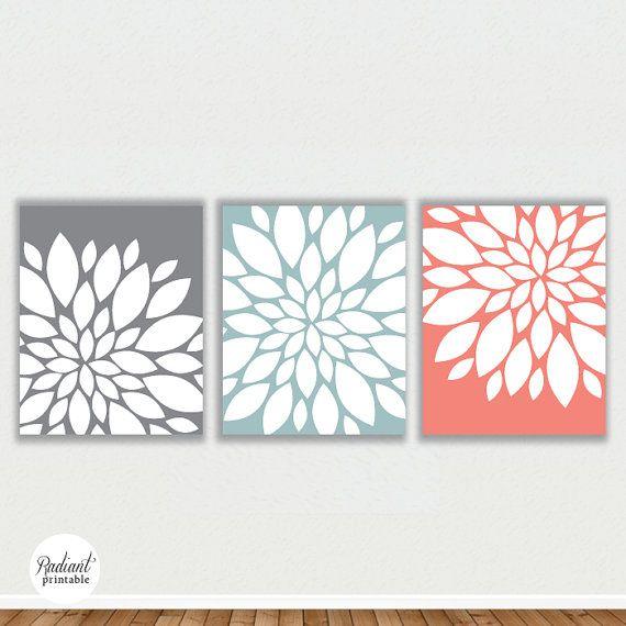 Wall Decor Etsy : Modern abstract flower bursts in grey slate wall art