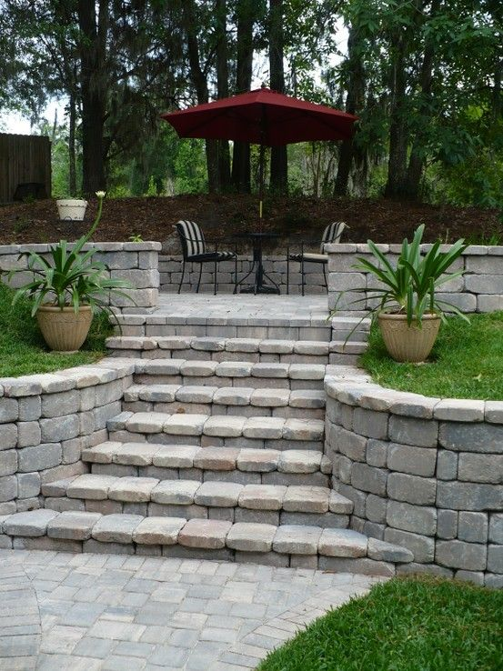 Landscaping Wall Steps : Retaining walls sloping backyard wall steps