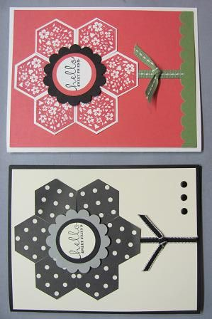Lynn's cute cards used Six-Sided Sampler & its matching Hexagon Punch.