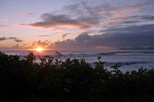 Kapiti Island sunset at Paekakariki beach NZ.