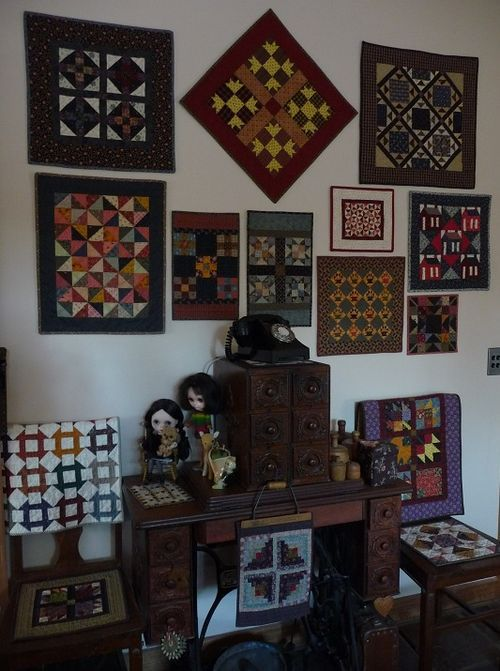 My wall of small quilts... http://marianedwardsdreamweaver.typepad.com