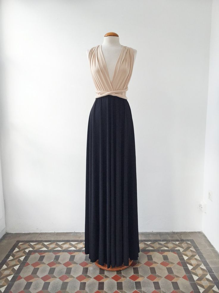 Nude black dress, nude long dress, black long dresses, evening gown, two tone bridesmaid dresses weddings, bridesmaid nude long dress event