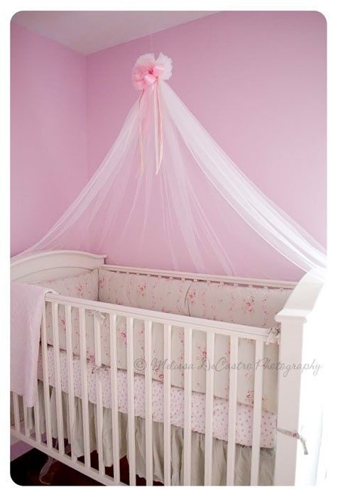 Nursery Crib Crown Canopy Photography Prop PRINCESS PINK Bow Hanging Bed Mosquito Netting SALE. $21.99, via Etsy.