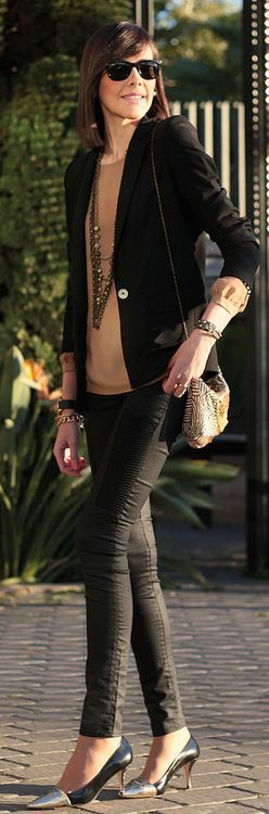 H&M Black skinny Biker Pants by Be Trench :: The shoes! The bag!