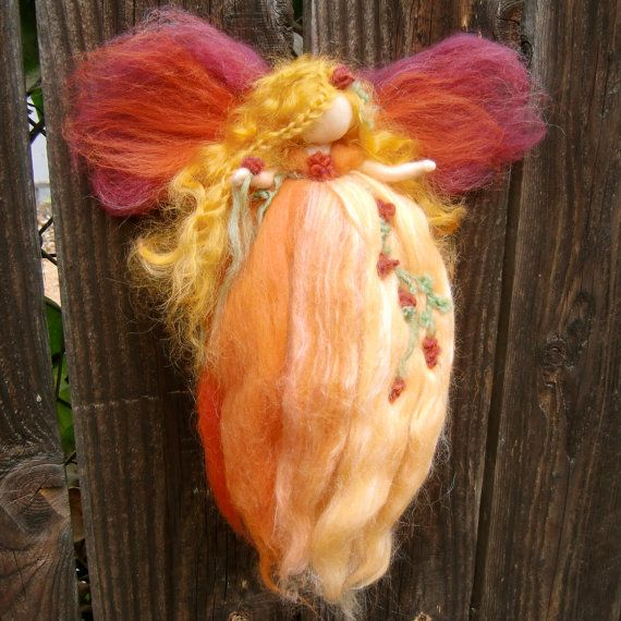Needle felted wool fairy angel Autumn Blossom Blessing by Nushkie