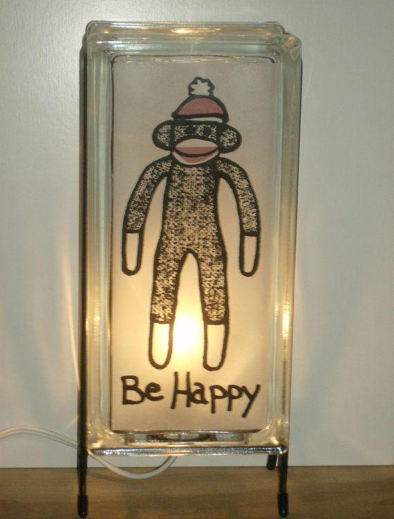 Sock Monkey Lamp New Baby gift FREE SHIPPING  Upcycled