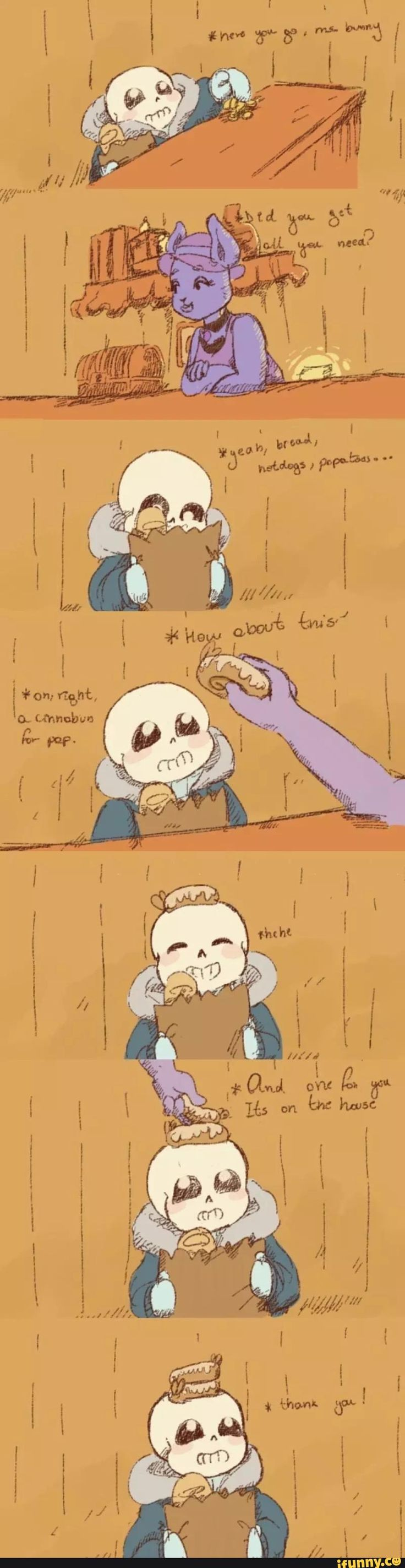 SansU, undertale. Sans goes grocery shopping and gets a treat!
