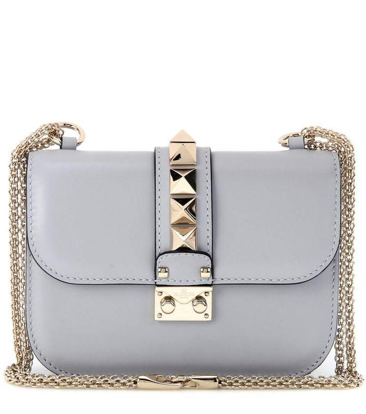 Lock Small grey leather shoulder bag