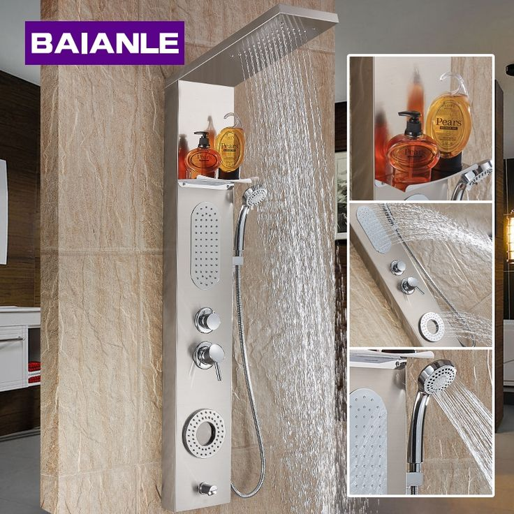 159.00$  Know more  - Stainless Steel High Quality Bathroom Shower Panels Bath and Shower Faucet Column Single Handle with Massage Jet System