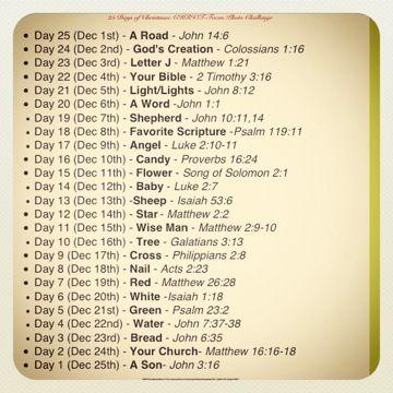 Christian CHRISTmas Countdown - Photo challenge for 25 days of Christmas with Bible verses!