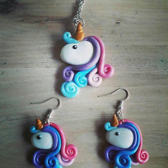collier et boucles d'oreille licorne arc en ciel 100% fait main à découvrir sur ma boutique : www.etsy.com/fr/shop/MesideesdeJenni #licorne