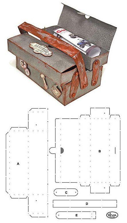 Boîte-cadeau en forme de boîte à outil mesurant environ 16 cm x 11 cm x 9,5 cm - gabarit: