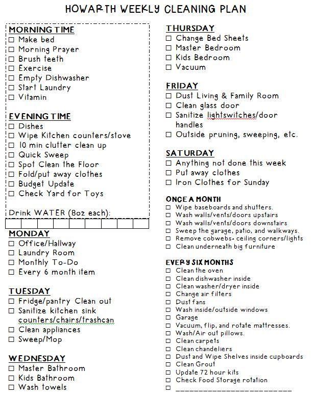 A Weekly Cleaning Plan - Chore Chart to check off things to do each day.